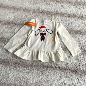 Gymboree 3T Ivory French Puppy Long Sleeve Tee